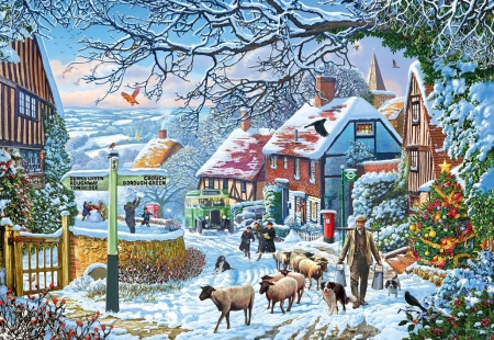 Country Winter Bus - sheep, art, colin westingdale, painting, pictura, winter, bus, iarna