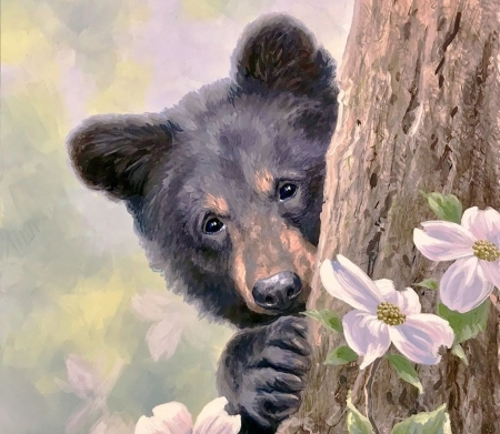 A little shy - urs, flower, abraham hunter, bear, spring, animal, art, forest, painting, pictura