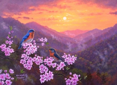 Sunset - blossom, bird, abraham hunter, flower, sunset, spring, pink, art, painting, pictura