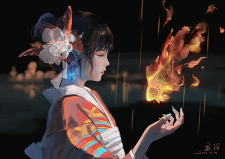 Fire fish - art, frumusete, fish, orange, luminos, asain, black, kimono, enze fu, fire, fantasy, girl, pesti, hand