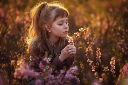 Little Girl - Girl, Flowers, Child, Nature