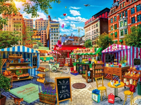 Farmer's Market - city, honey, juice, houses, stands, painting, bread, artwork