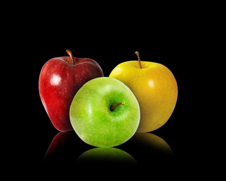 Apples - apple, fruit, red, mar, green, trio, black, yellow