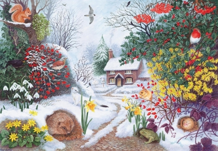 Winter hedgerow - bird, pasari, painting, flower, spring, pictura, anne searle, art, winter, hedgehog