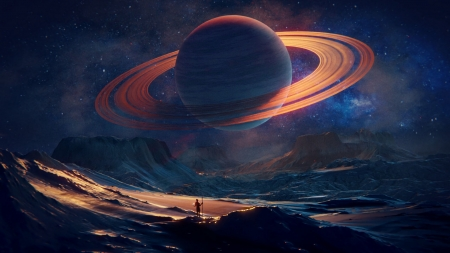 Saturn - silhouette, saturn, fantasy, orange, planet, mark faasen, blue