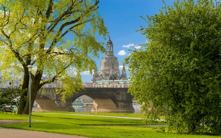 Church in Dresden, Germany - Germany, trees, bridge, church, lantern