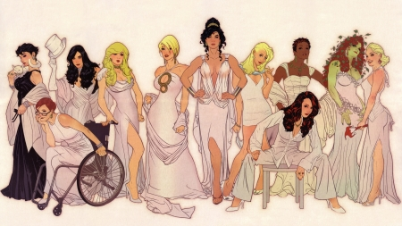 DC Universe - Adam Hughes, illustration, dc comics, wonder woman, zatanna, poison ivy