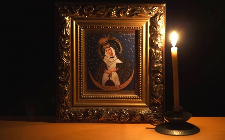 Mother of God of Ostrobram - candle, Lithuania, Mary, icon