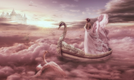 Journey With The Swans - softness beauty, Fantasy, pink, swans, ethereal, unearthly, boat, enchanting, fantasy girl, Clouds, magical
