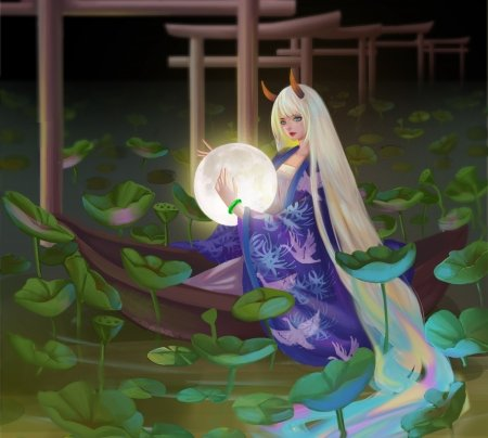Fantasy girl - horns, art, frumusete, luna, luminos, zhongerwanzi, kimono, water, demon, moon, fantasy, girl, green