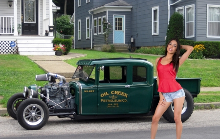 Hot Rod Pickup with a Cummings Motor - brunette, hot rod, model, shorts, truck