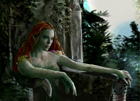 Poison Ivy - Charlize Theron, poison ivy, frumusete, mariia peterson, redhead, luminos, superb, fantasy, green, girl, gorgeous