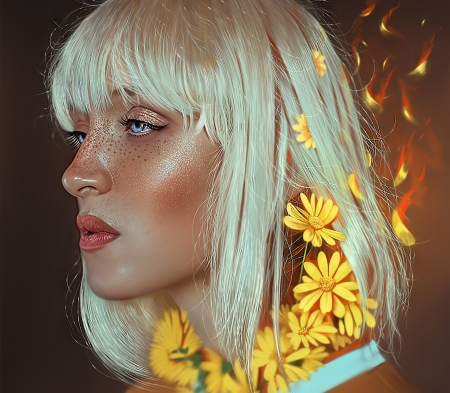 White - face, white, art, yasar vurdem, luminos, yellow, hair, frumsuete, fantasy, girl, flower, portrait