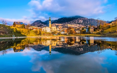 Innsbruck City in the Alps - water, houses, mountains, austria, river, church, reflections, urch