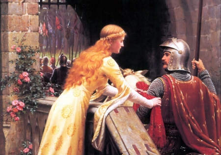 God Speed - girl, pretty, art, soldier, Leighton, painting, maiden