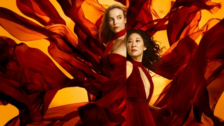 Killing Eve (2018 - ) - Jodie Comer, red, dress, actress, killing eve, tv series, yellow, mirror, Sandra Oh