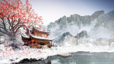 ♥ - winter, iarna, lake, art, house, spring, fantasy, tree, snow, temple, asian, ice, pink