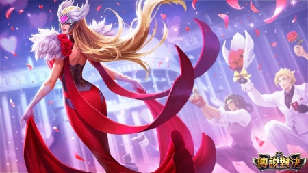 Fantasy girl - arena of valor, fantasy, dress, luminos, girl, wind, game, pink