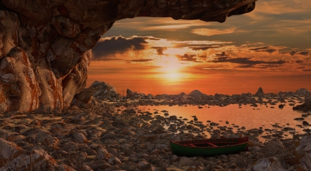Sunset Shimmer - rocks, beach, sunset, canoe, sky, clouds, cave, sea, 3d