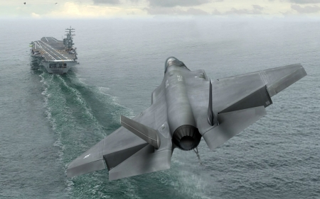 USAF F-35A Coming in on an Aircraft Carrier - water, carrier, aircraft, jet