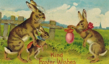 Happy Easter! - egg, rabbit, green, iepure, easter, bunny, pink, vintage, card