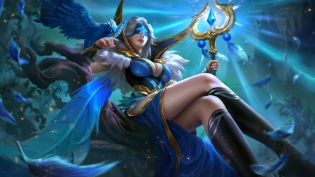Pharsa Indigo Aviatrix - game, mobile legends, blue, frumusete, luminos, fantasy, girl, bird, blind, pharsa, feather, pasari