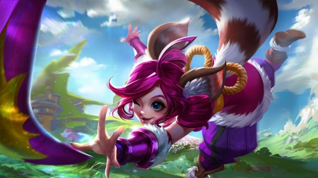 Lulu - cute, frumusete, luminos, girl, fox, game, pink, mobile legends, fantasy