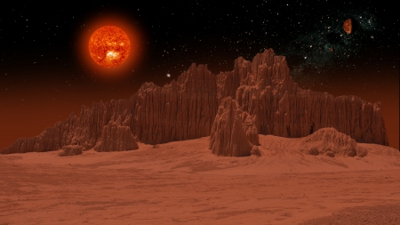 Hot and Melting - red sun, red image, wallpaper, hot, red dwarf, dieing star, meltingplanet, melting, the end