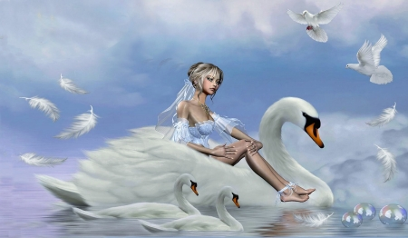 Riding on a Swan - beauty, magical, blue and white, Fantasy, swan, softness, Doves, lovely, dreamy, fantasy