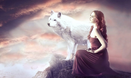 Fantasy Girl and Wolf - fantasy, lovely, dreamy, fantasy girl, redhead, magical, Wolf, white