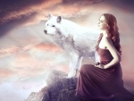 Fantasy Girl and Wolf