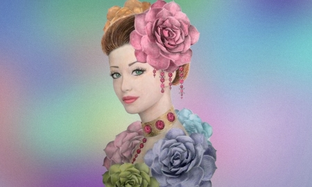 Beautiful Fantasy Portrait - fantasy girl, paint, Colorful, flowers, pastel, face, portrait, lovely, draw, hair