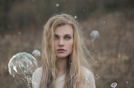 Rain - girl, blonde, summer, rain, jellyfish, woman, flo tucci, model, fantasy, vara