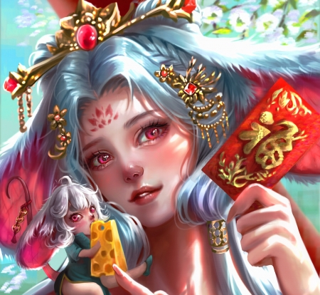 Year of the Rat - red, fantasy, usagi christy lam, chinese zodiac, year of the rat, girl, mouse, face