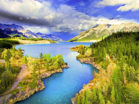 Abraham Lake, Banff National Park - alberta, sky, rocky mountains, canada, clouds