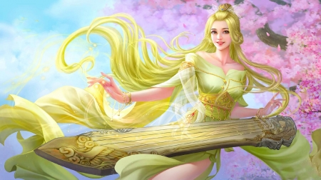 Spring Melody - girl, pretty, art, fantasy, digital, spring, woman