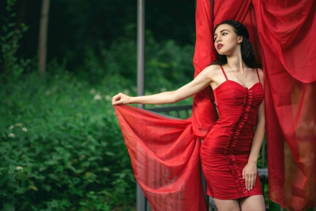 The Model in Red - red, brunette, dress, model
