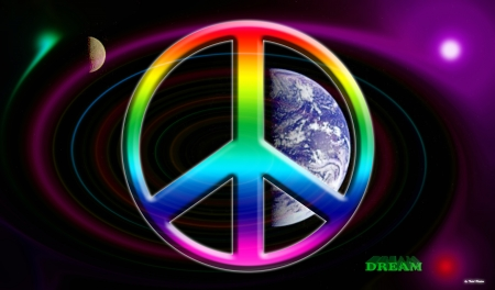 Dreams of Peace - rainbow peace sign, space, peace on earth, peace sign, earth and moon, rainbow