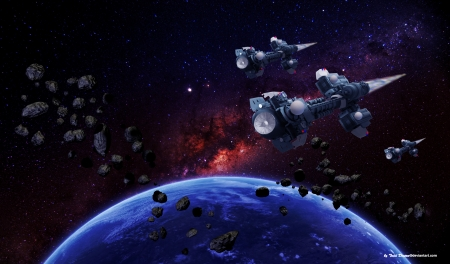 Earth Space Fleet - orbit earths orbit, spaceships, asteroids, Space, view from space