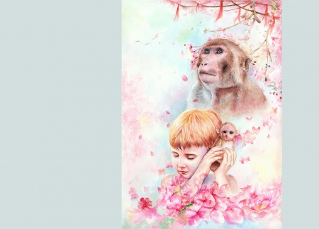 ♥ - pink, maimuta, blue, art, luminos, spring, monkey, mrart, boy, fantasy, flower, mr