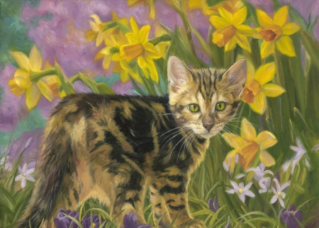 Spring kitty - pictura, cat, kitten, art, yellow, spring, green, flower, daffodil, painting, pisici, lucie bilodeau