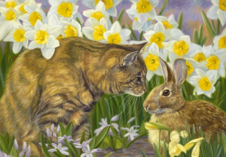 Spring Friends - art, rabbit, brown, yellow, easter, spring, cat, green, garden, daffodil, painting, flower, bunny, pisici, pictura, lucie bilodeau