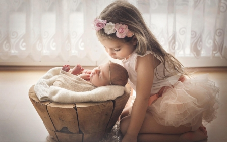 Little Sisters - baby, little, newborn, children, girls, sisters