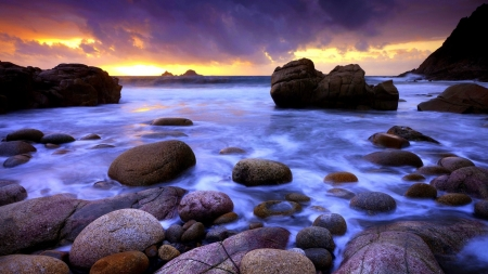Sunset Sky - rocks, horizon, ocean, nature, sunset, waves, sky, clouds