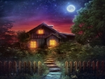 Cottage Under The Moonlight