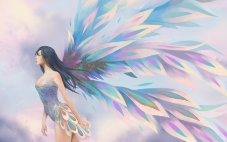 Fairy - fantasy, wings, girl, pink, feng chang, fairy, blue, art, luminos, pastel