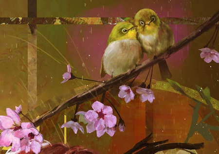 Spring birds - art, sakura, stayap s, luminos, detail, yellow, spring, flower fairy, cherry blossom, fantasy, blossom, bird, flower, pasari, pink, couple, brown
