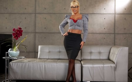 Bridgette B - dress, actress, Bridgette B, couch, blonde, hands on hips