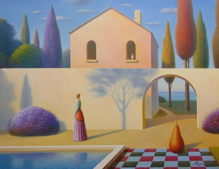 The shadow - art, vara, evgeni gordiets, girl, shadow, summer, painting, pictura