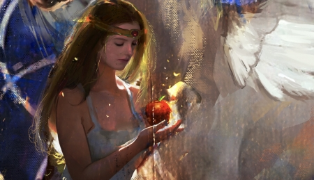 Temptation - art, fruit, red, apple, fantasy, frumusete, girl, layla vlady, luminos